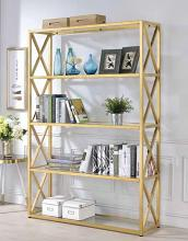 Acme 92460 Milavera clear glass and gold finish metal 5 tier book case shelf unit