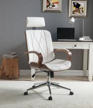 Acme 92513 Yoselin white faux leather walnut finish wood office chair