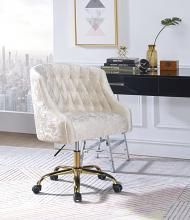 Acme 92517 Levian vintage cream velvet fabric office chair with casters