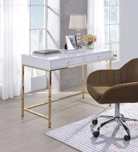 Acme 92540 Mercer 41 spada ottey white high gloss finish wood gold metal frame desk
