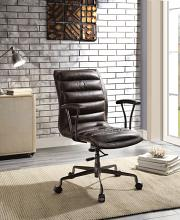Acme 92558 Zooey distress chocolate top grain leather executive office chair with casters
