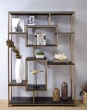 Acme 92655 Latitude run folks scaola champagne finish metal multi tier book case shelf unit