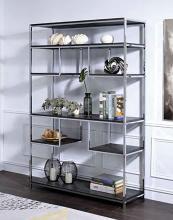 Acme 92657 Latitude run folks vonara rustic gray chrome finish metal multi tier book case shelf unit