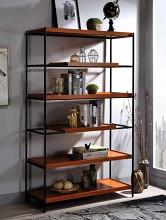 Acme 92677 Oaken honey oak finish wood black metal frame 6 tier book case shelf unit