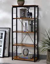 Acme 92912 Jurgen oak and black finish metal 5 tier book case shelf unit