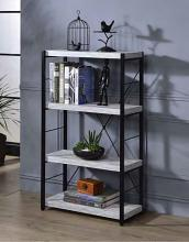 Acme 92917 Jurgen antique white black finish metal 4 tier book case shelf unit