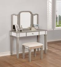 930131 Rosdorf park gracie 3 pc metallic platinum finish wood and mirror detail bedroom make up vanity