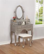 930137 One allium way provence 3 pc silver finish wood corner bedroom make up vanity set