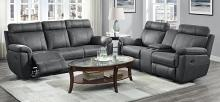 Homelegance 9301GRY-2pc 2 pc Clifton gray polished microfiber double reclining sofa and love seat set