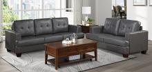 Homelegance 9309GY-SL 2 pc Hinsall gray faux leather fabric sofa and love seat set