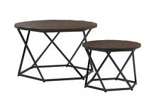 931154 Carbon loft hinsdale 2 pc dark brown finish wood matte black frame round nesting table set