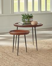 931170 Carbon loft hinsdale 2 pc cinnamon finish wood gunmetal frame round nesting table set