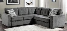 Homelegance 9311GY-SC 3 pc Lanning gray chenille fabric sectional sofa set pop up chaises