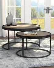 931215 Carbon loft dheera 2 pc weathered elm finish wood gunmetal frame round nesting table set