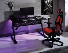 Acme 93125 Dragi black finish metal frame gaming desk table station with LED lights and USB ports and outlets built in