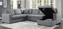 Homelegance 9313GRY-42LRC 4 pc Solomon gray textured fabric sectional sofa set storage chaise