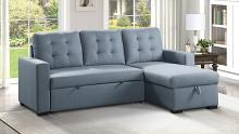 Homelegance 9314BU-SC 2 pc Cornish blue textured fabric sectional sofa reversible storage chaise and pop up sleep area