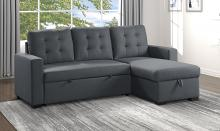 Homelegance 9314CC-SC 2 pc Cornish Charcoal textured fabric sectional sofa reversible storage chaise and pop up sleep area