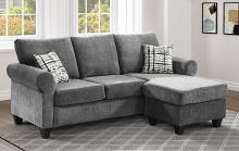 9317GY-3SC 2 pc Winston porter Desboro gray chenille fabric reversible ottoman chaise sectional sofa