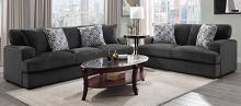 Homelegance 9318CBN-SL 2 pc Rivermeade carbon textured plush microfiber sofa and love seat set