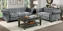 Homelegance 9326DG-SL 2 pc Welwyn dark grey velvet fabric sofa and love seat set with tufted backs