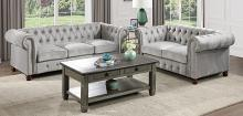 Homelegance 9326GY-SL 2 pc Welwyn grey velvet fabric sofa and love seat set with tufted backs