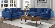 Homelegance 9329BU-SL 2 pc Rand mid century modern blue velvet fabric sofa and love seat set with curved arms