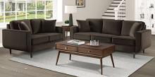 Homelegance 9329CH-SL 2 pc Rand mid century modern chocolate velvet fabric sofa and love seat set with curved arms