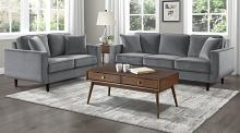 Homelegance 9329GY-SL 2 pc Rand mid century modern gray velvet fabric sofa and love seat set with curved arms