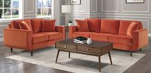 Homelegance 9329RN-SL 2 pc Rand mid century modern orange velvet fabric sofa and love seat set with curved arms