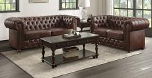Homelegance 9335BRW-SL 2 pc Tiverton brown faux leather sofa and love seat set with tufted backs