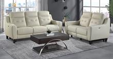 Homelegance 9337CR-2PC 2 pc Conrad cream top grain leather match sofa and love seat set power recliner ends