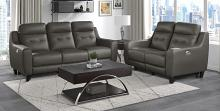 Homelegance 9337GB-2PC 2 pc Conrad greyish brown top grain leather match sofa and love seat set power recliner ends