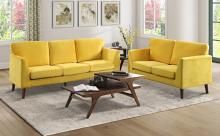 Homelegance 9338YW-2PC 2 pc Everly quinn bethelridge mid century yellow fabric sofa and love seat set