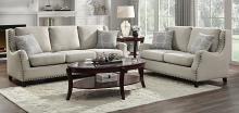 Homelegance 9339BE-2PC 2 pc Halton beige chenille fabric sofa and love seat set nail head trim
