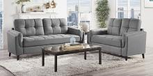 Homelegance 9340GY-2PC 2 pc Everly quinn Dorelle mid century modern gray polished microfiber sofa and love seat set