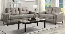 Homelegance 9340TP-2PC 2 pc Everly quinn Dorelle mid century modern taupe polished microfiber sofa and love seat set