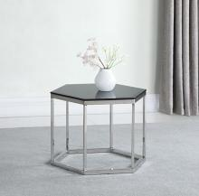 934148 Wildon home chrome finish metal and hexagon black beveled glass top end table