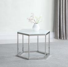 934149 Wildon home chrome finish metal and hexagon white beveled glass top end table
