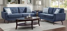 Homelegance 9347BU-SL 2 pc Amberley mid century modern blue textured fabric sofa and love seat set with chrome modern legs