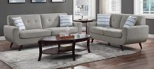 Homelegance 9347GY-SL 2 pc Amberley mid century modern gray textured fabric sofa and love seat set with chrome modern legs