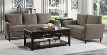 Homelegance 9348BRW-SL 2 pc Orren ellis Dunleith brown velvet fabric sofa and love seat set