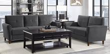 Homelegance 9348GRY-SL 2 pc Orren ellis Dunleith gray velvet fabric sofa and love seat set