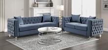 Homelegance 9349DBU-2PC 2 pc Waldorf park Galinda dark blue velvet like tufted fabric sofa and love seat set
