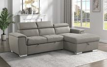 9355BR*22LRC Winston porter cadence III brown chenille fabric sectional sofa with storage chaise and sleep area