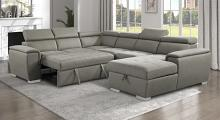 9355BR*42LRC 4 pc Winston porter cadence brown chenille fabric sectional sofa with storage chaise and sleep area