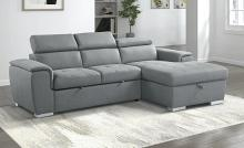 9355GY*22LRC Winston porter cadence III light gray chenille fabric sectional sofa with storage chaise and sleep area
