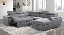 9355GY*42LRC 4 pc Winston porter cadence light gray chenille fabric sectional sofa with storage chaise and sleep area