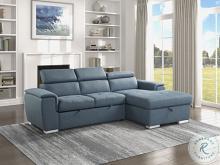 9355BU*22LRC Winston porter cadence III blue chenille fabric sectional sofa with storage chaise and sleep area