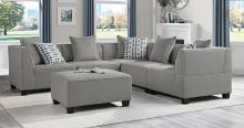 Homelegance 9357GY-5SC-OT 6 pc Winston porter Jayne gray textured fabric modular sectional sofa with ottoman